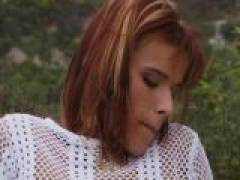 Red haired amateur bitch gets pussy screwed doggy outdoors