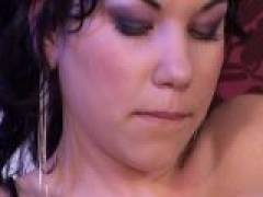Enticing brunette vixen getting pussy and ass fingered on the chair