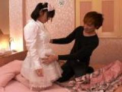 Attractive Japanese cutie March Momooiro vibrating her slick shaved pussy