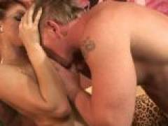 Eve Laurence shows her boobs and gets them licked good