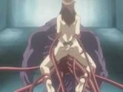 Long tentacles play with this poor hentai babe's holes and fuck them good