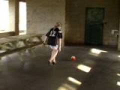 Sexy blond exgirlfriend cutie Kitty playing football and showing her assets